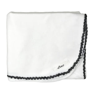 oh baby! Trimmed Layette Blanket - Charcoal - Cream