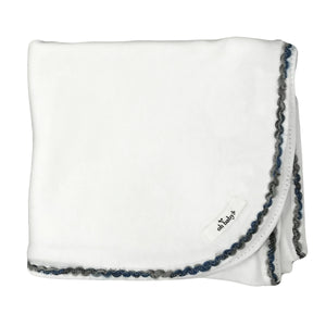 oh baby! Trimmed Layette Blanket - Deep Blue Multi - Cream