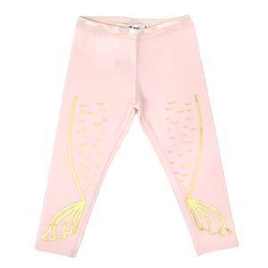 oh baby! Mermaid Tail Gold Foil Leggings - Pale Pink