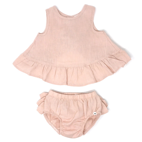oh baby! Dolly Linen Ruffle Top and Tushie Set - Blush