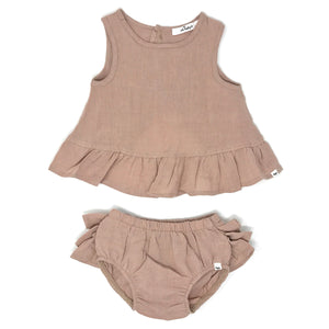 oh baby! Dolly Linen Ruffle Top and Tushie Set - Rose