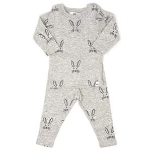 oh baby! Two Piece Set - Charcoal Bunny Face - Oatmeal