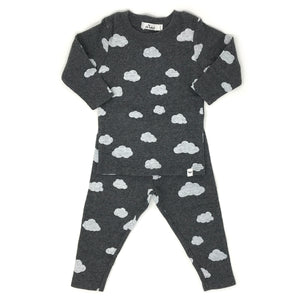 oh baby! Two Piece Set - White Clouds - Charcoal