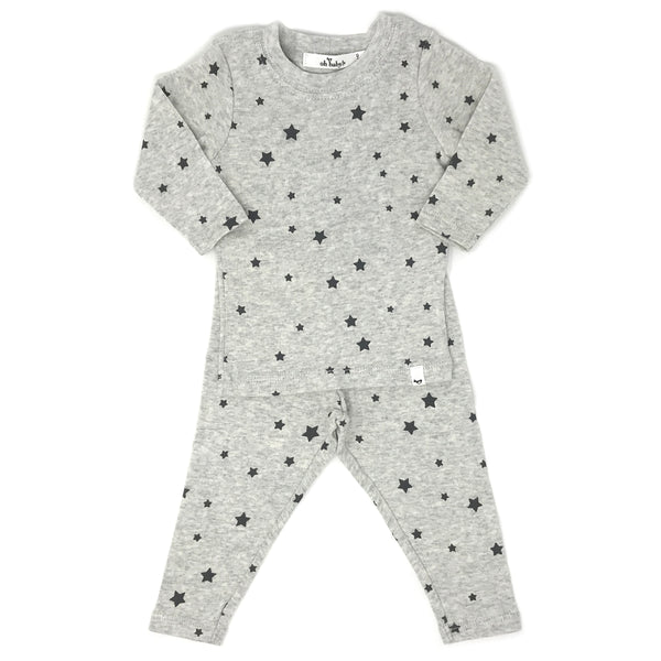 oh baby! Two Piece Set - All Over Stars - Oatmeal Heather