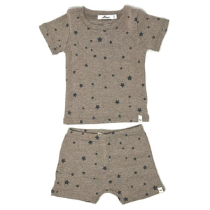 oh baby! Two Piece Short Set - All Over Stars - Mushroom