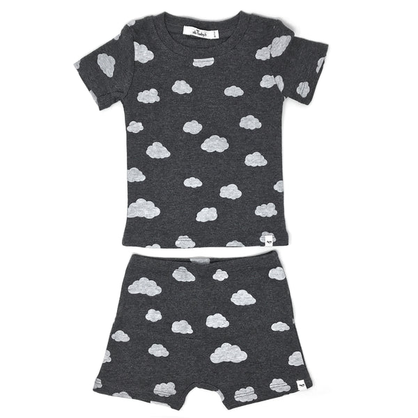 oh baby! Two Piece Short Set - All Over Clouds - Charcoal