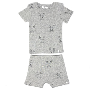 oh baby! Two Piece Short Set - All Over Bunny - Oatmeal Heather