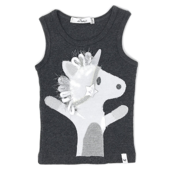 oh baby! Tank Top - Star Unicorn Silver - Charcoal