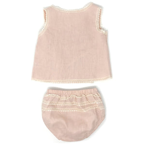 oh baby! Linen & Lace Blouse Tushie Set - Blush