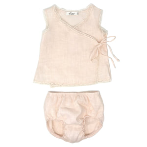 oh baby! Linen & Lace Blouse Tushie Set - Apricot