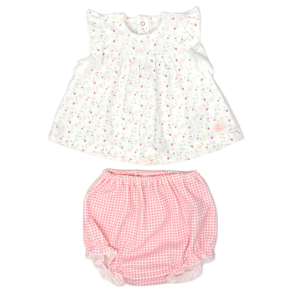 Petit Bateau Two Piece Set Floral Dress and Check Bloomers - Pink