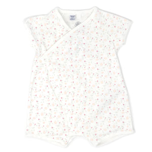 Petit Bateau Short Sleeve Printed Side Snap Romper - White/Pink Floral