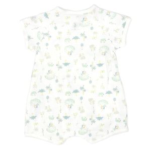 Petit Bateau Short Sleeve Printed Side Snap Romper - White/Green Jungle