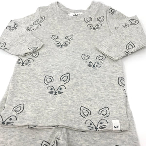 oh baby! Two Piece Set - Charcoal Fox Faces - Oatmeal