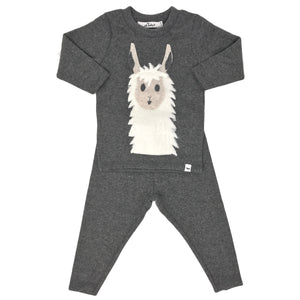 oh baby! Two Piece Set - Snowy Llama - Charcoal