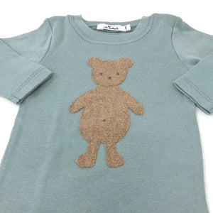 oh baby! Two Piece Set - Tan Bear - Misty Blue