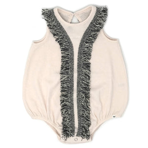 oh baby! Bubble Pucker Knit with Cookie Fringe Onesie - Natural