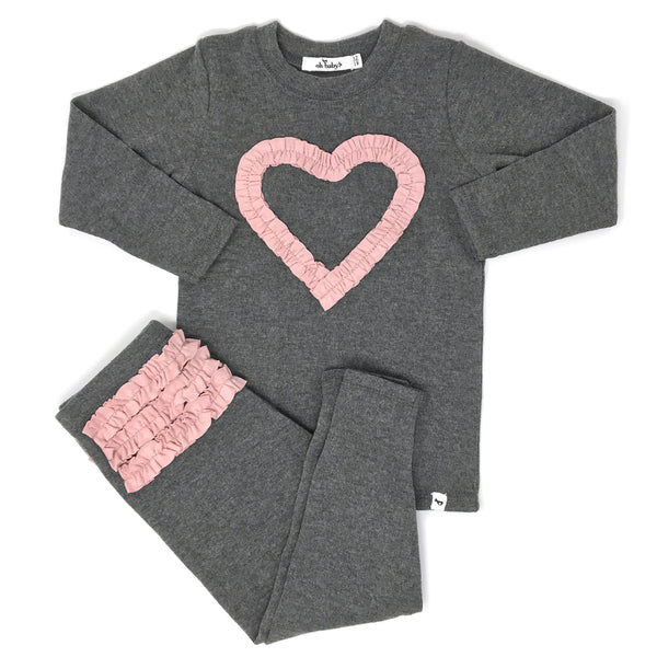 oh baby! Two Piece Set - Ruffle Heart Blush - Charcoal