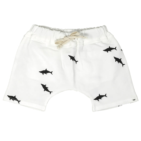 oh baby! Mini Jogger Shorts - All Over Sharks Black - Cream