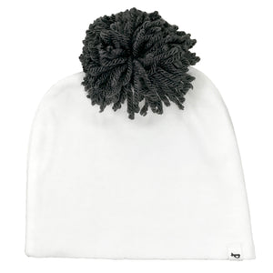 oh baby! Hat - Yarn Pom - Charcoal on Cream