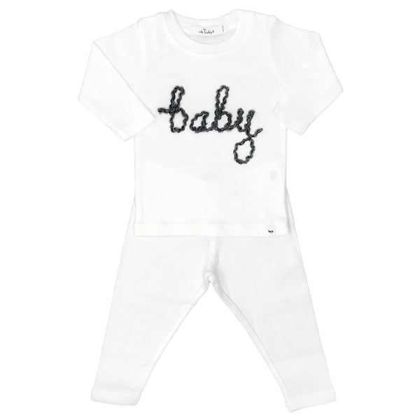 "oh baby! Two Piece Set ""baby"" in Charcoal Yarn - Cream"