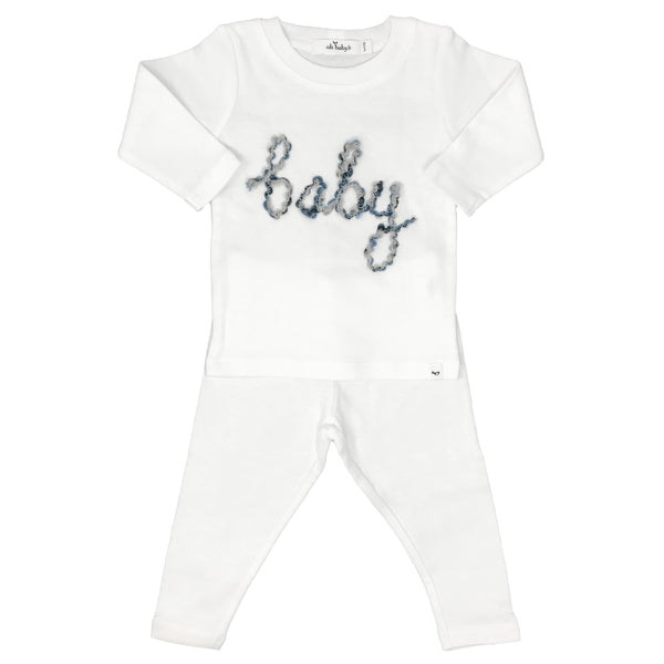 oh baby! Two Piece Set - Baby in Deep Blue Yarn - Cream