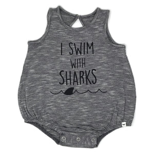 "oh baby! Cookie Stripe Bubble - ""I Swim With Sharks"" Black Ink"