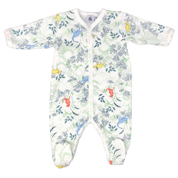 Petit Bateau Baby Front Snap Printed Footie - Dinosaurs