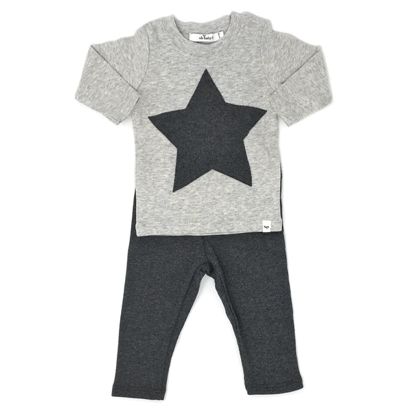 oh baby! Two Piece Set -  Star Patch  - Charcoal