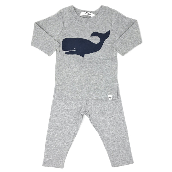 oh baby! Two Piece Set - Whale Navy - Pebble Gray