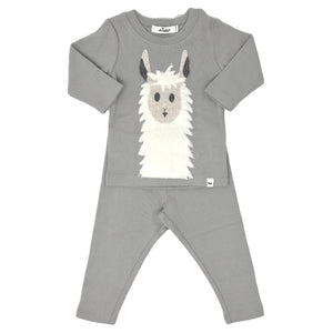 oh baby! Two Piece Set - Snowy Llama - Elephant Gray