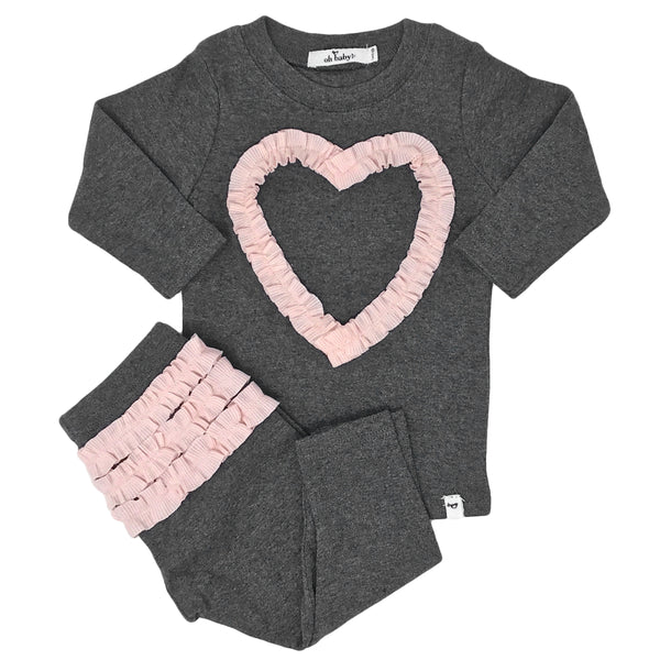 oh baby! Two Piece Set - Ruffle Heart Pale Pink - Charcoal Heather
