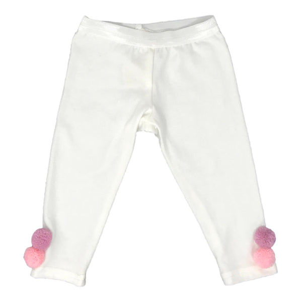 oh baby! Yarn Pom Leggings - Cream