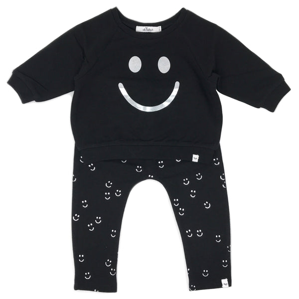 oh baby! Two Piece Set - Silver Smiley - Black