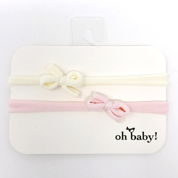 oh baby! 2 Pack Mini Bow Nylon Headband - Cream/Pale Pink