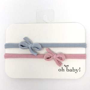 oh baby! 2 Pack Mini Bow Nylon Headband - Grey/Blush