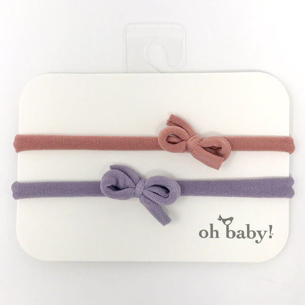 oh baby! 2 Pack Mini Bow Nylon Headband - Blush/Dusty Lavender