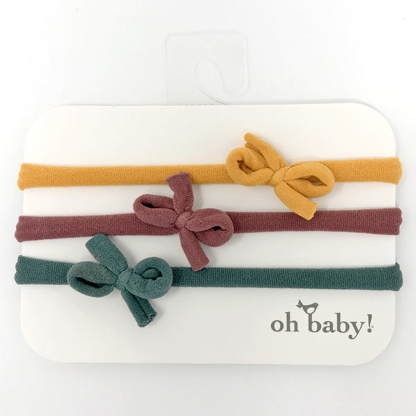 oh baby! 3 Pack Mini Bow Nylon Headband - Mustard/Rust/Forest