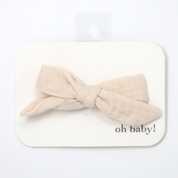 oh baby! School Girl Gauze Bow Clip - Natural