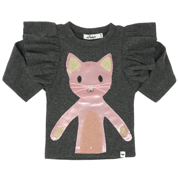 oh baby! Butterfly Sleeve Tee with Velvet Luxe Phoebe Kitty - Charcoal