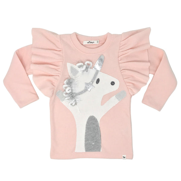 oh baby! Butterfly Sleeve Tee with Silver Star Unicorn - Brushed Pale Pink
