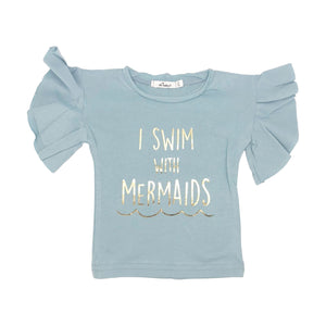 oh baby! Varsity Short Sleeve Tee - I Swim with Mermaids Gold - Blue