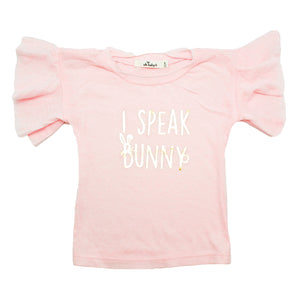 "oh baby! Varsity Tee - ""I Speak Bunny"" Gold Foil - Pale Pink"