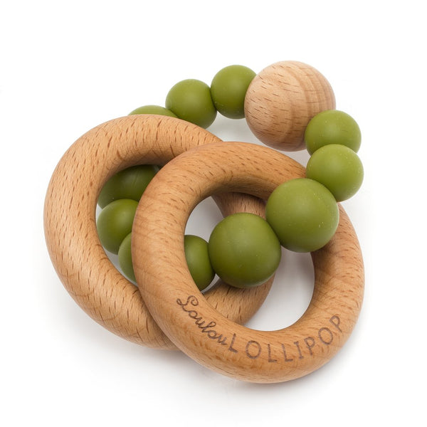 Loulou Lollipop - Bubble Silicone and Wood Teether - Olive