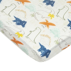 Loulou Lollipop - Fitted Crib Sheet - Dinoland