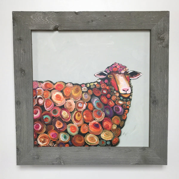 Lamb on Cream Framed Art 31x31