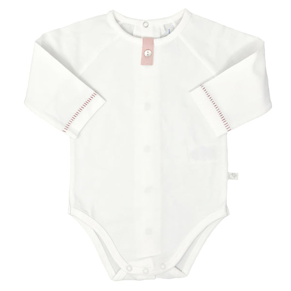 Baby Long Sleeve Back Snap Cream Bodysuit - Old Pink