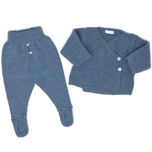 Cardigan and Footed Pants Set - English Blue