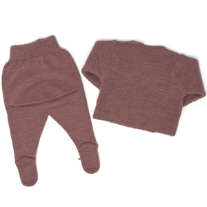 Cardigan and Footed Pants Set - Old Pink