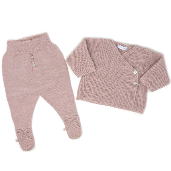 Cardigan and Footed Pants Set - Powder Pink